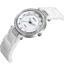Alloy case white ceramic watch band