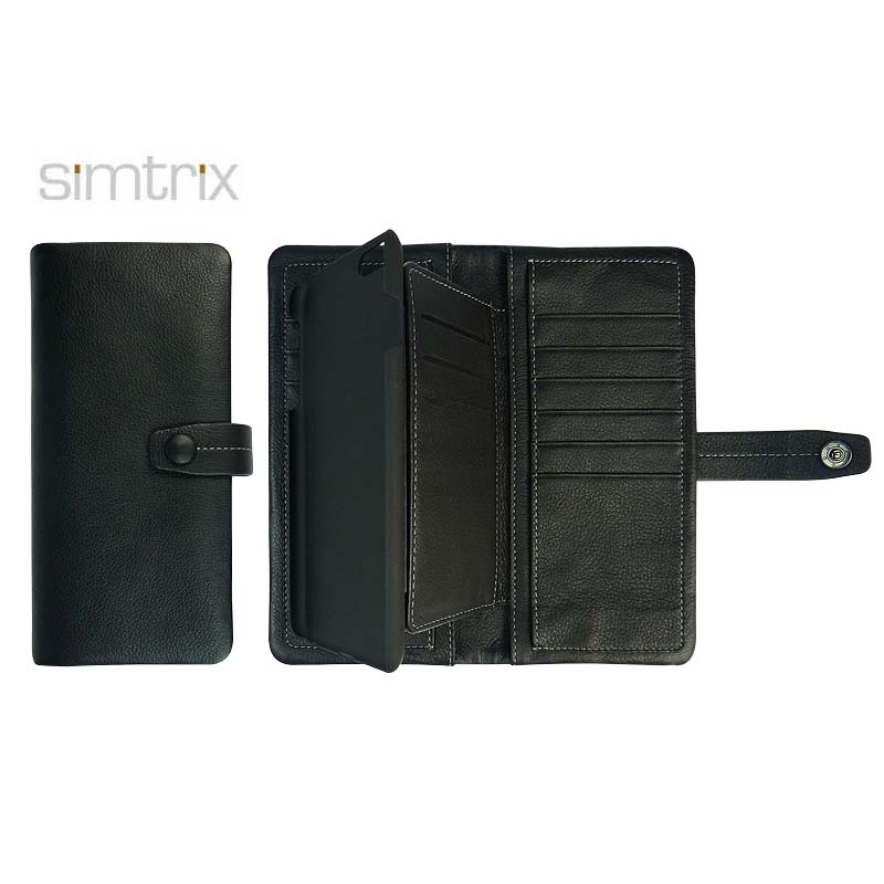 Real leather phone case with anti hemming sewing process