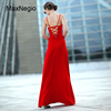 Maxnegio 2018 New Sexy Women Red Sleeveless Sling Evening Dress With Backless And Beaded Neck Design Long Evening Dresses
