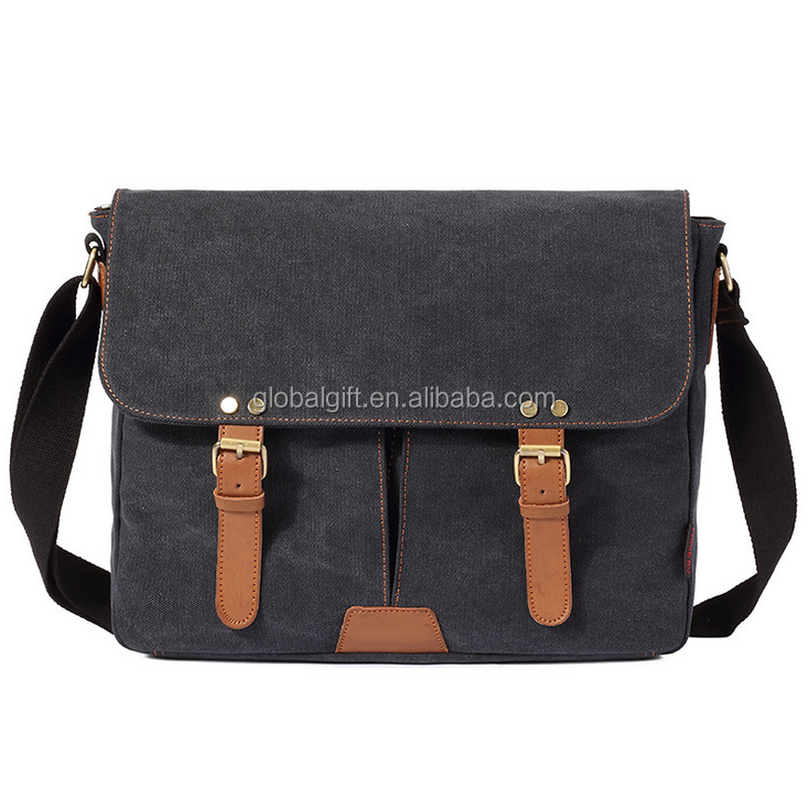 Pure color double pockets magnetic buckle messenger bag for male