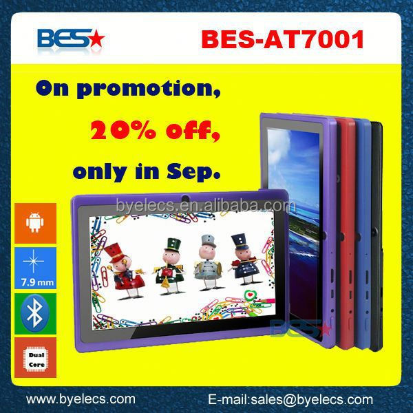 On promotinal in Sep. dual core 7 inch q88 allwinner a13 tab