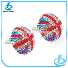 Latest push-back colorful rhinestone hat earring semi-basketball shape imitation ear jewelry