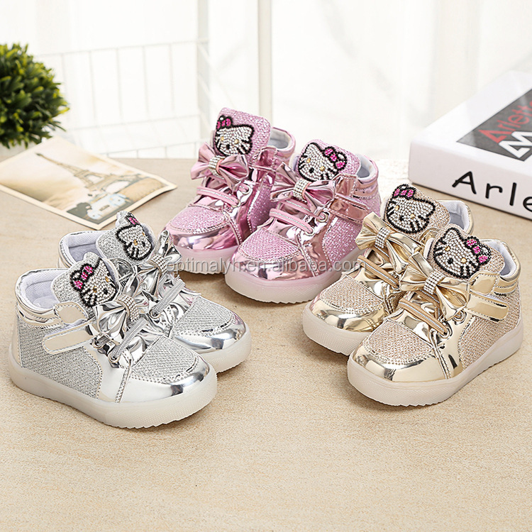 Kaifei Girls Shoes Cute Rhinestone Led Shoes With Children Lighted Sneake