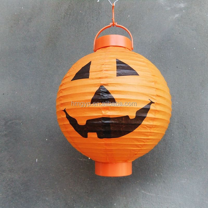 Hot sale pumpkin head cylinder paper lantern for Halloween supplies in outdoor <strong>decoration</strong>