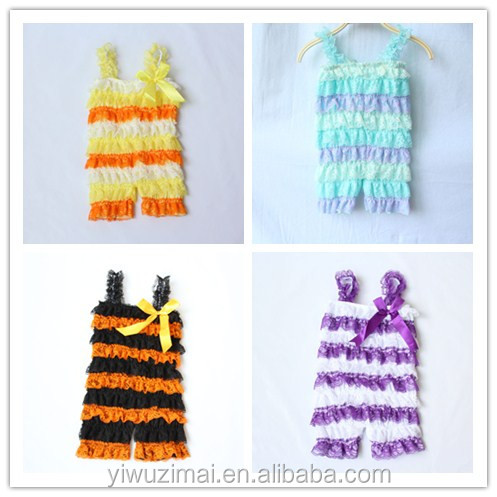 Wholesale high quality infant toddler sleeveless lace ruffle romper for kids