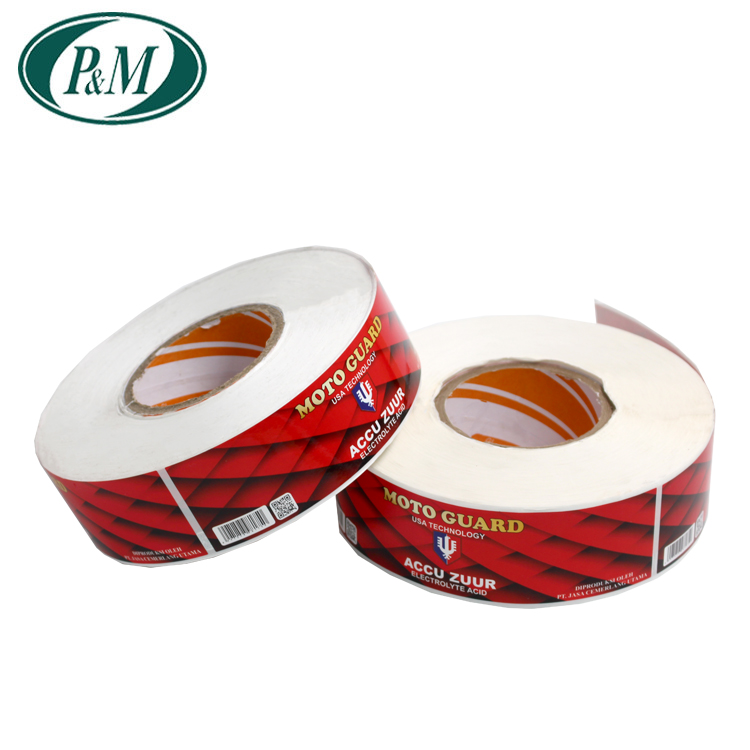 Custom logo self-adhesive clear private sticker label in roll