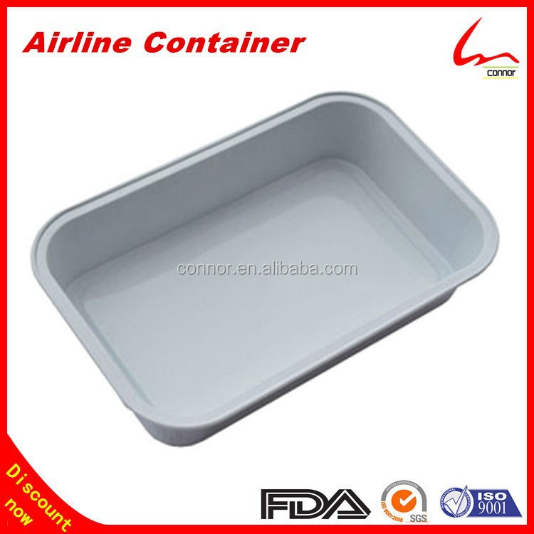 Discount Inflight Coated Inside Disposable Smooth Wall Airline Rectangular Aluminum Foil Container With Lid
