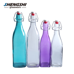 500ml square clear bottle wholesale glass juice swing top water bottles