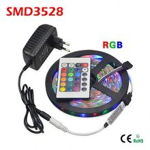 5M SMD 3528 RGB Flexible LED Strip light 60LEDs / M + 24Key IR Remote Controller + DC 12V 3A Power Adapter EU / US Plug