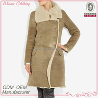2015 Women outwear clothing winter long shearling coats for women