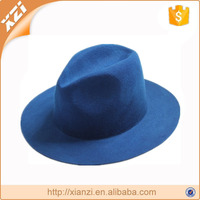 Winter fasion hat blue fake wool hat cheap panama hat