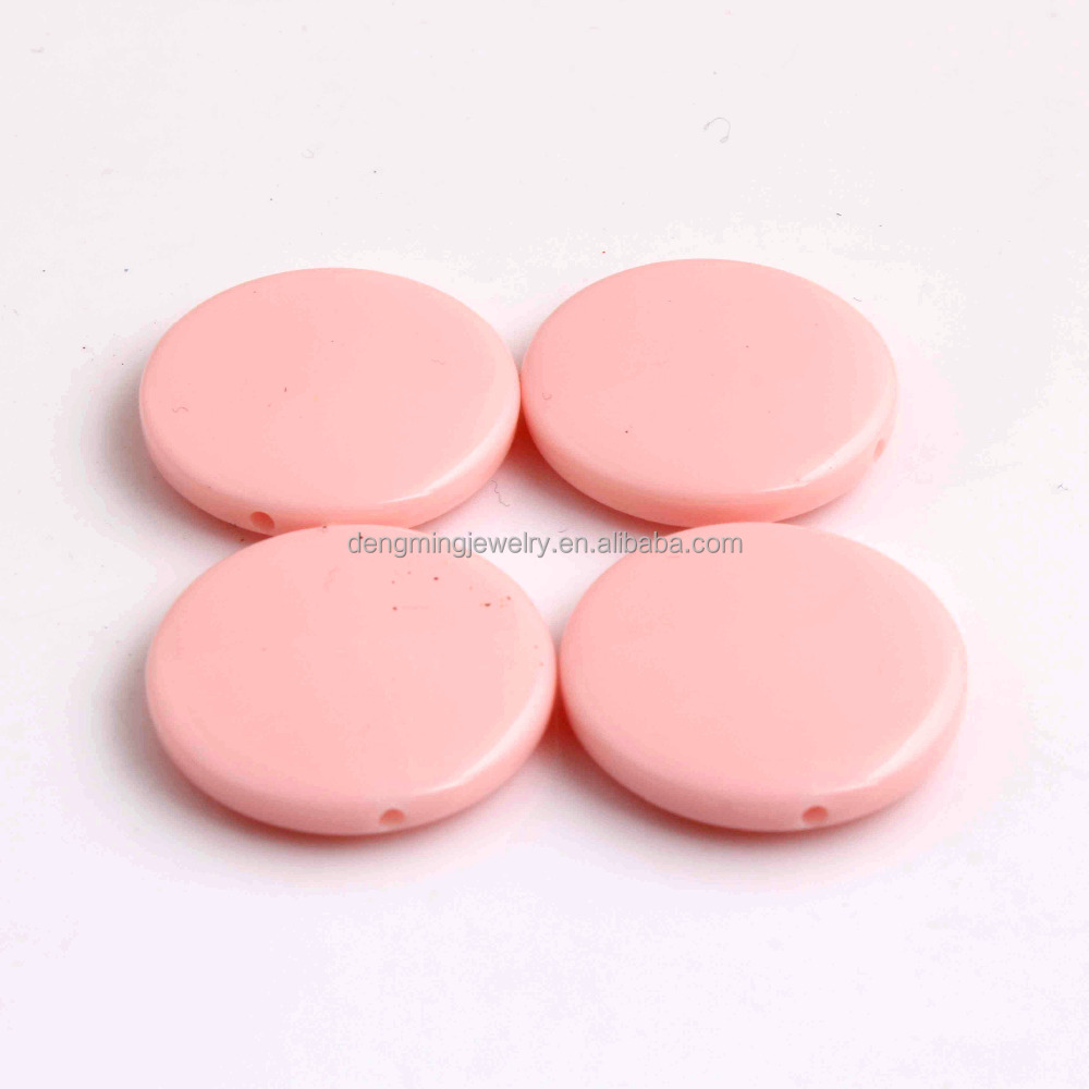 Pastel Pink Color Acrylic Solid Round Flatback Beads for Easter Chunky Jewelry Making 25mm