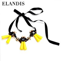 E-ELANDIS 2015 newest design costume crystal jewelry rope long chain necklace with crystal necklace wholesale