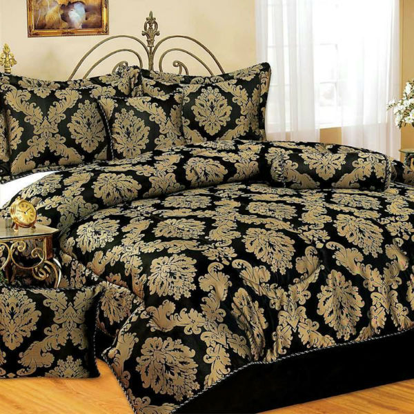 luxury jacquard damask bedding set