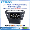ZESTECH Factory Wholesales CE/FCC/ROHS certification and 8 inch double din Car dvd gps for peugeot 301 Citroen Elysee