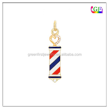 Custom Gold barber shop pole pendant charm