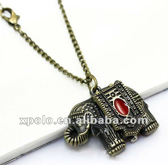 Luky Elephant Pocket Watch Sweater Chain Bronze Alloy Necklace