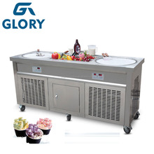 2016 CE Approved Thailand Style Fried Ice Cream Machine, Double Flat Pan Instant Ice Cream Rolls Machine With Cheap Prices