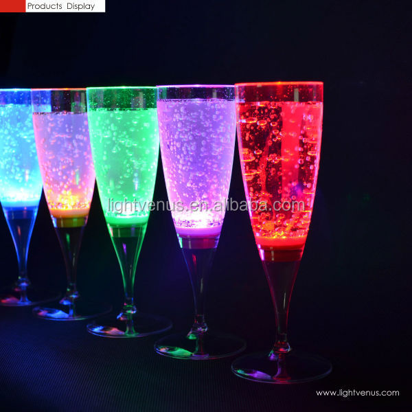 FDA colorful LED glass display grade plastic LED champagne glass Flutes decoration LED Light Up Liquid drink cup