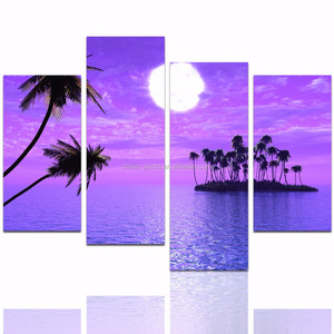 Full Moon Upon Sea Scenery Wall Pictures/Palm Tree Canvas Painting Art/Island Landscape Home Decor Art Work