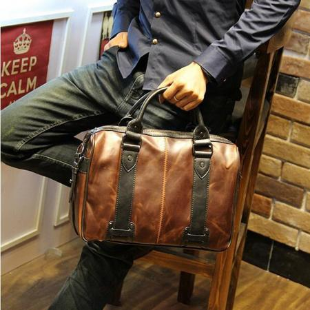 Popular style vintage brown men's briefcase bag shoulder school bag leather shoulder messenger bag