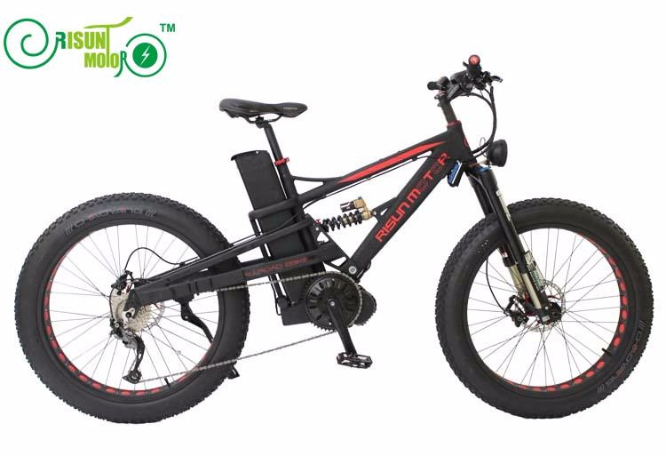 Mountain Electric Bike 48V 1000W BAFANG Mid Drive Motor Ebike bicycle LCD Display,DNM USD-6 Fat Bike Fork RLC Air Suspension