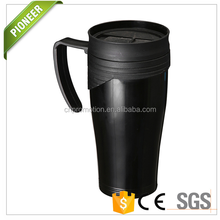 400ML Plastic double wall insulated coffee mug with handle and lid Black