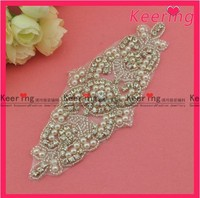 wholesale new pearl crystal rhinestone applique for wedding WRA-400