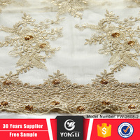 Top alibaba supplier new 100 polyester fabric african gold lace fabric