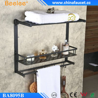 Beelee Oil Rubbed Bronze Solid Brass Wall Mounted Dual Tier Corner Bracket Bathroom Storage Shelf Shower Caddy Cosmetics Holder