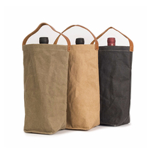 1WN0069 Wholesale Good Quality Factory Price Beer Single Bottle Holder Waxed Canvas Tote Wine Bag With Handle for Outdoor Travel