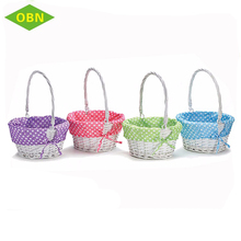 Personalized white wicker easter wicker basket with fodable handle