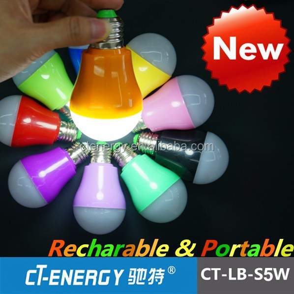 10 different colors Emergency LED bulb rechargeable for Home party light using