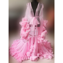 sexy Pink Long Chiffon Robe Flower hem sleeve Big sweep maxi Gown Cos Princess dress