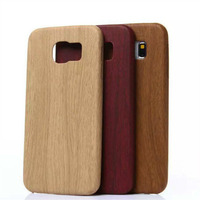 Alibaba express ultra thin soft PU protective wood phone case back cover leather case for samsung galaxy s6