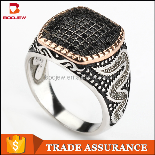 2015 best selling moroccan silver ring jewelry black zircon white gold men engagement ring models