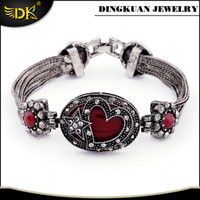 star and heart chain bracelet for woman antique silver plating jewelry wholesale
