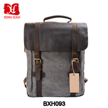 Unisex hot style vintage canvas genuine leather travel school bags 19 inch laptop backpack
