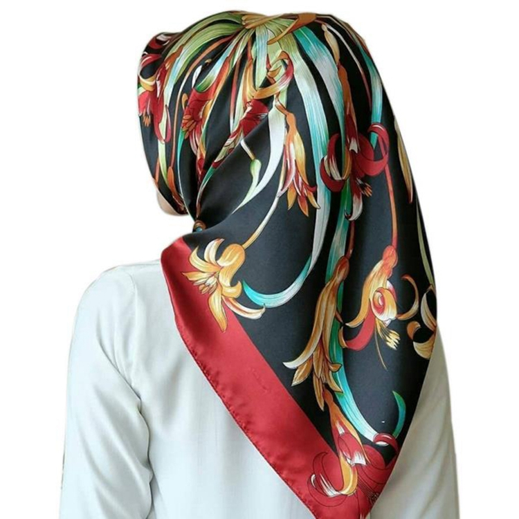 New Arrival Floral Printed Square Hijab <strong>Scarf</strong> Women With Imitate Silk