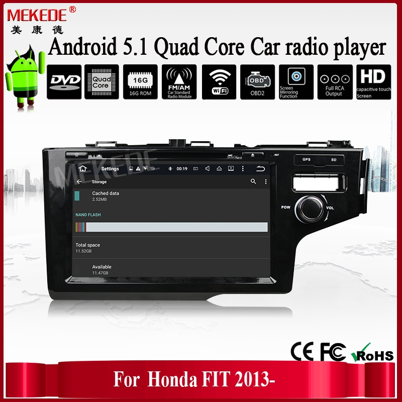 2din car radio stereo for FIT / JAZZ 2013- car DVD audio with gps navigation wifi BT 1080P