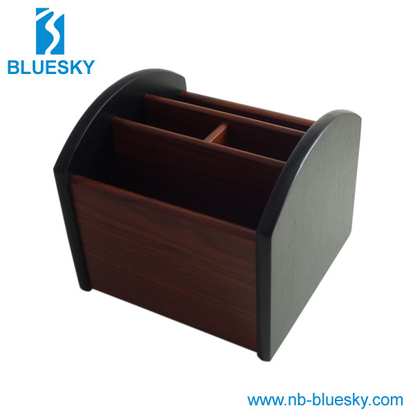 New design decorative custom wooden pen holder with revolving disk