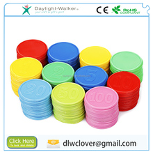 Promotional custom colorful embossed plastic Token coin