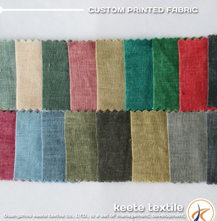 2017 spring multi-color 80% cotton 20% flax linen blend fabric wholesale, free sample available