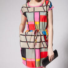 monroo Fahion colorful printed women checked patterns dress ladies elastic waist casual dress