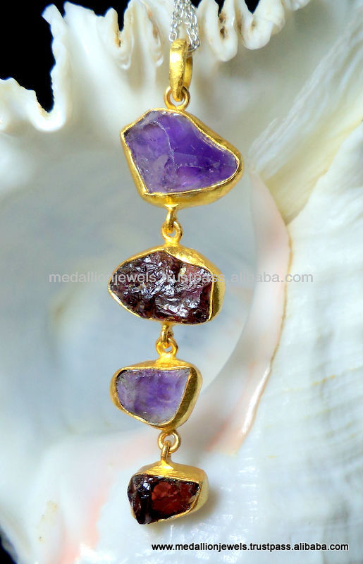 Vermeil Rough Gemstones Pendants, Gold Plated Natural Gemstones Pendants, Matt Finished Micron Plated Pendants