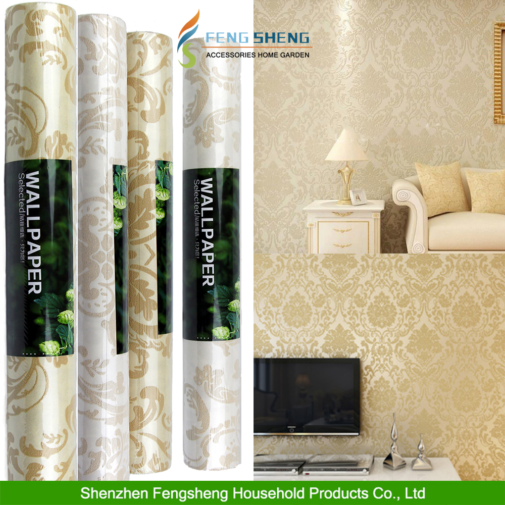 10M Non-Woven Damask Pattern Style Flocking Bedroom TV Wallpaper Rolls 2 Colors
