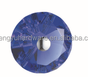 Diamond Shape Azure Crystal Cut Glass Door Handle and Knob