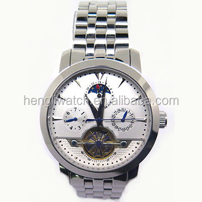 2016 unique design full stainless steel skeleton mechanical mens watch with visable sapphire caseback