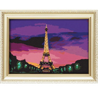 Diy landscape oil painting by numbers with Eiffel tower 40*50cm