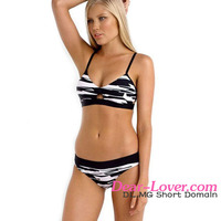 Young Girls Hot Sexy Black White Fastlane Banded Two Pieces Swimwear